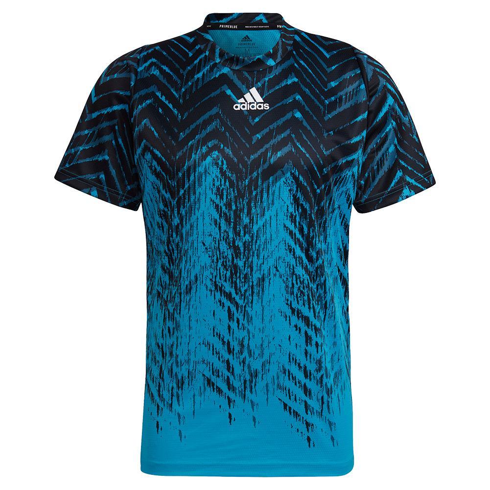 Men's Primeblue Freelift Printed Tennis Top Sonic Aqua And Black