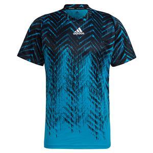 Men`s Primeblue Freelift Printed Tennis Top Sonic Aqua and Black