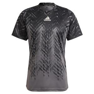 Men`s Primeblue Freelift Printed Tennis Top Grey Five