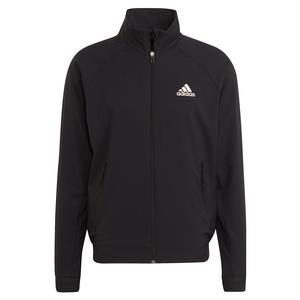Men`s Primeblue Stretch Woven Tennis Jacket Black and Wonder White