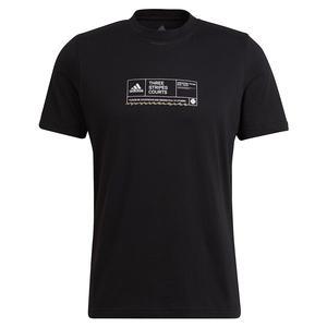 Men`s NYC Sign In Sheet Graphic Tennis T-Shirt Black