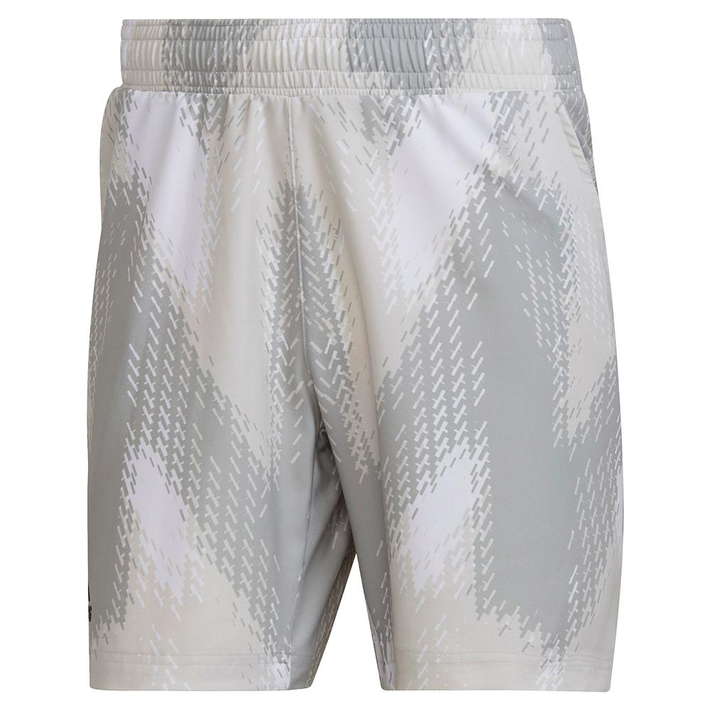Men's Primeblue Printed 7 Inch Tennis Short White And Grey One