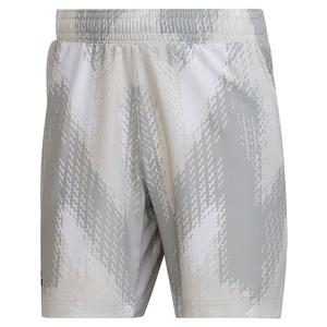 Men`s Primeblue Printed 7 Inch Tennis Short White and Grey One