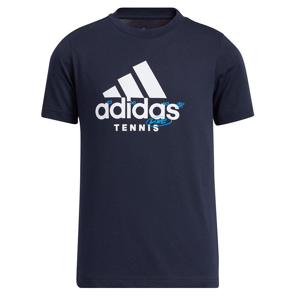 Boys ` Category Graphic Logo Tennis T- Shirt Legend Ink
