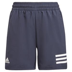 Boys` Club 3-Stripe Tennis Shorts Legend Ink and White