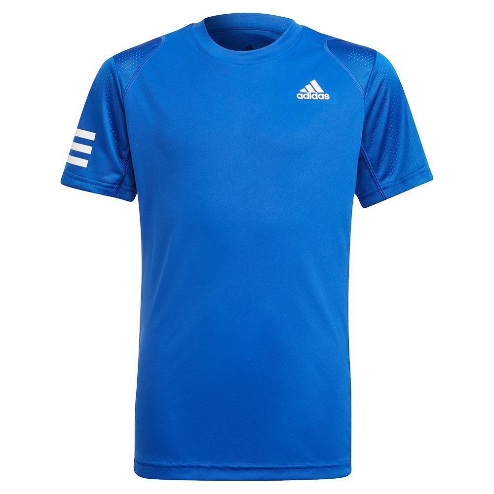 Boys ` Club 3- Stripe Tennis Top Bold Blue And White