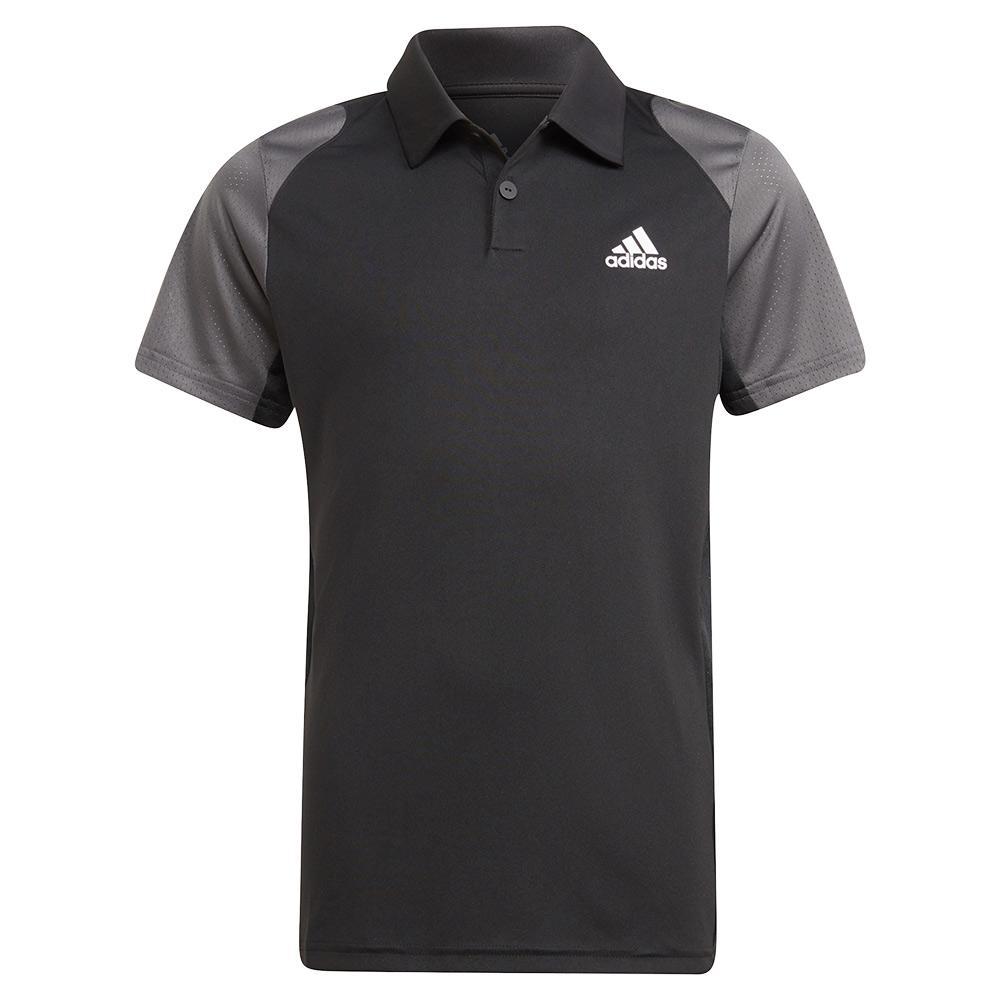 Boys ` Club Tennis Polo Black And Grey Six