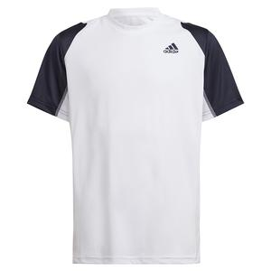 Boys` Club Tennis Top White and Legend Ink