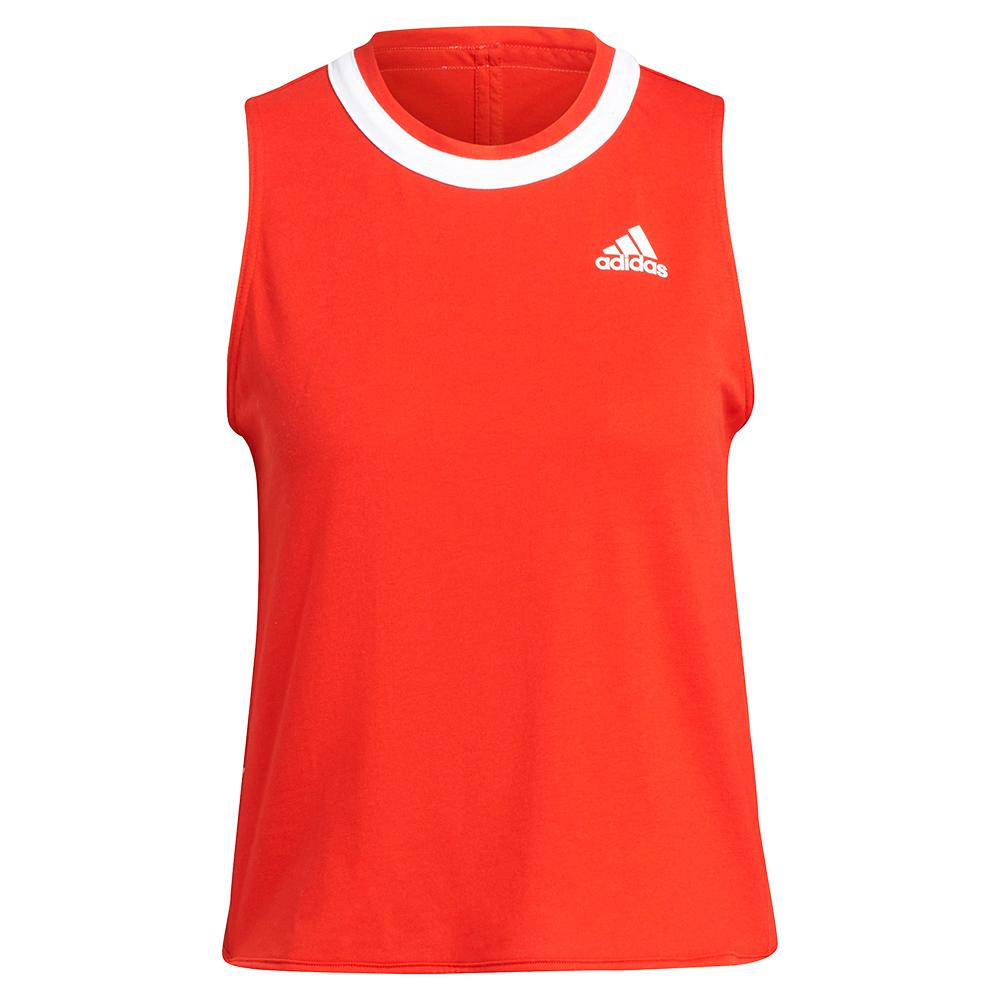 Women's Club Knotted Tennis Tank Vivid Red And White