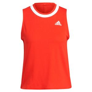 Women`s Club Knotted Tennis Tank Vivid Red and White