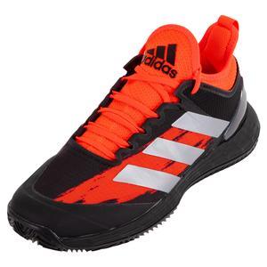 Men`s adizero Ubersonic 4 Clay Tennis Shoes Core Black and Silver Metallic