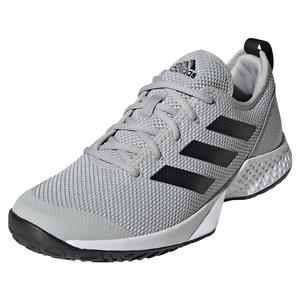Men`s Court Control Tennis Shoes Grey Two and Core Black
