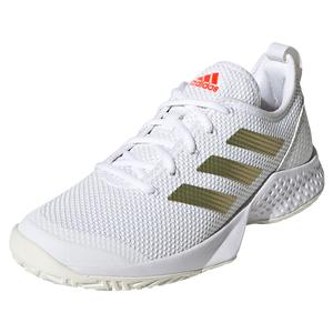 Women`s Court Control Tennis Shoes White and Gold Metallic