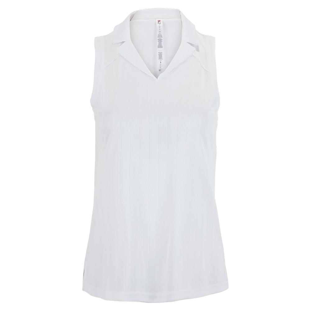 Women's White Line Full Coverage Sleeveless Tennis Polo White
