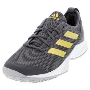 Women`s Court Control Tennis Shoes Grey Six and Gold Metallic