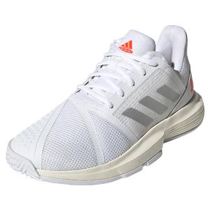 Women`s CourtJam Bounce Tennis Shoes White and Silver Metallic