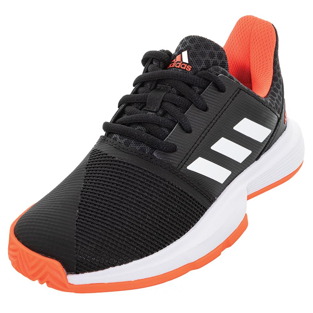 adidas Juniors` CourtJam xJ Tennis Shoes Core Black and White ...