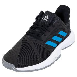 Men`s CourtJam Bounce Tennis Shoes Core Black and Sonic Aqua