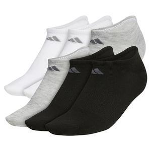 Women`s Superlite No Show Socks 6-Pack Black and Heather Light Grey