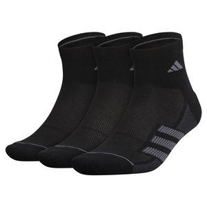 Mens Superlite Stripe II Quarter Socks 3-Pack Black and Onix