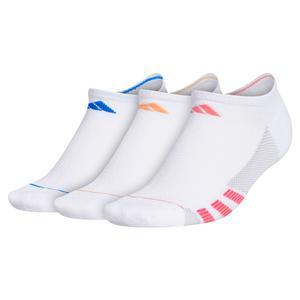 Women`s Superlite Stripe II No Show Socks 3-Pack White and Glory Pink