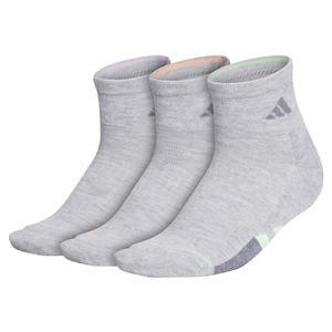Women`s Cushioned II Quarter Socks 3-Pack Cool Light Heather and Glow Green