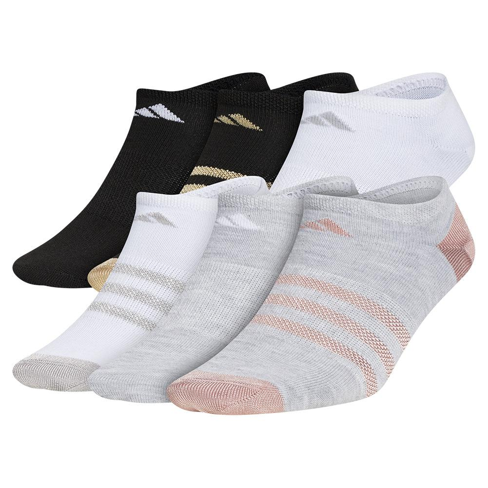 Girls'superlite No Show Socks 6- Pack Cool Light Heather And White