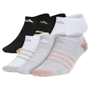 Girls` Superlite No Show Socks 6-Pack Cool Light Heather and White