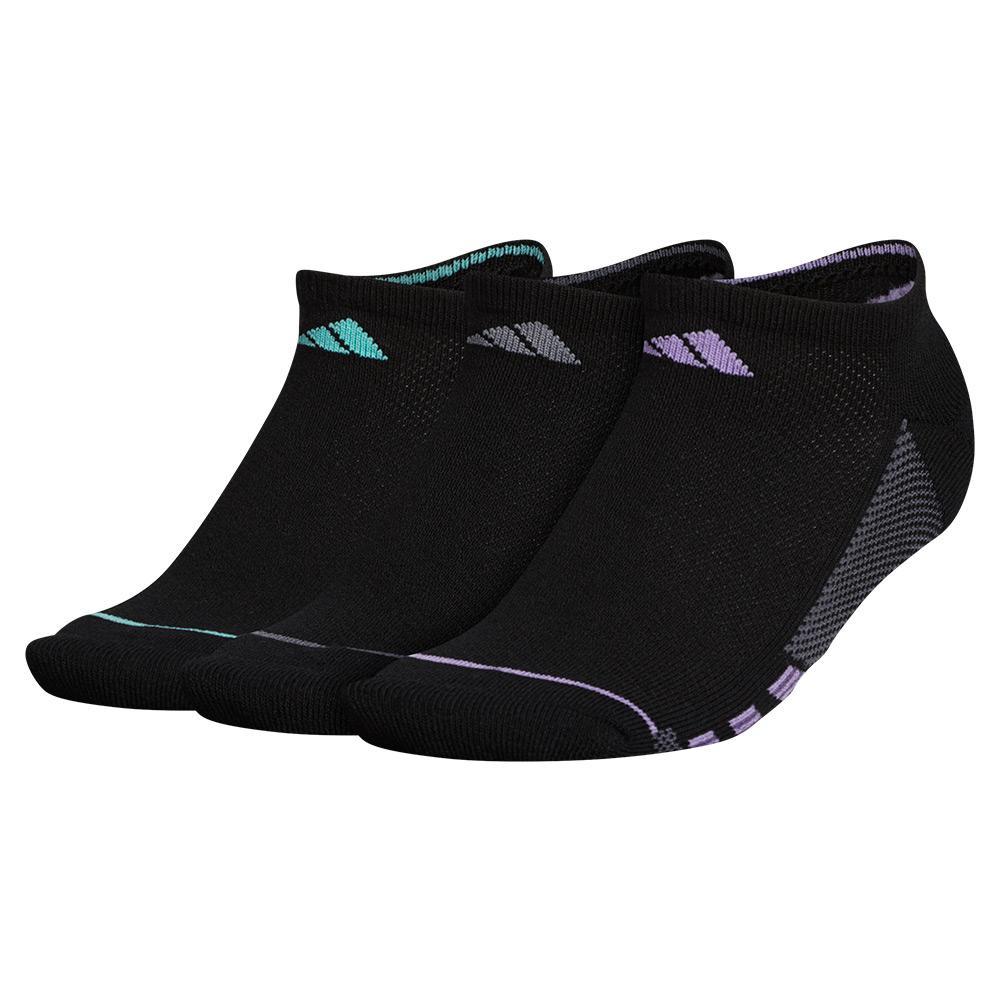 Women's Superlite Stripe Ii No Show Socks 3- Pack Black And Super Purple