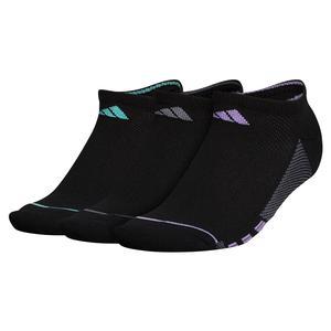 Women`s Superlite Stripe II No Show Socks 3-Pack Black and Super Purple