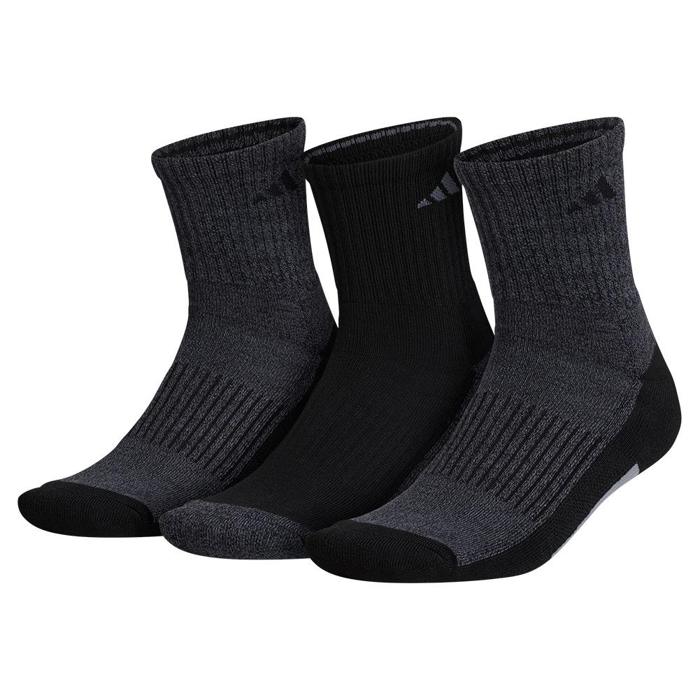 Mens Cushioned X 3 Mid- Crew Socks 3- Pack Black And Onix