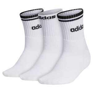 Women`s Sport Stripe High Quarter Socks 3-Pack White and Black