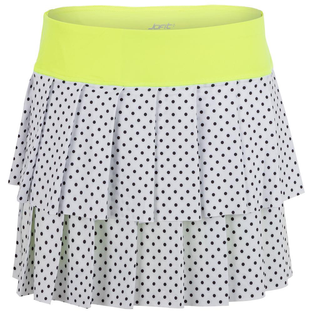 Women's Layered Pleat Tennis Skort White Polka Dot