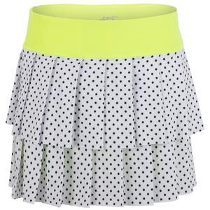 Women`s Layered Pleat Tennis Skort White Polka Dot