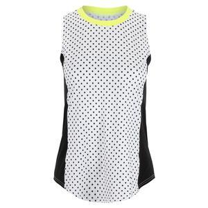 Women`s Side Panel Tennis Tank White Polka Dot