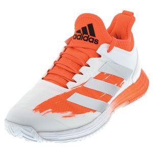 Men`s adizero Ubersonic 4 Tennis Shoes White and Silver Metallic