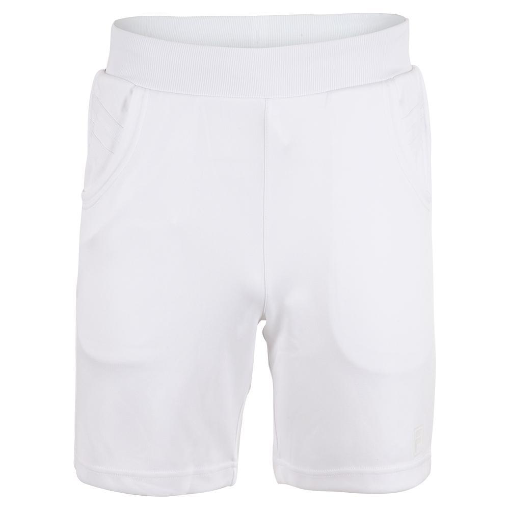 Men's White Line Tennis Short White