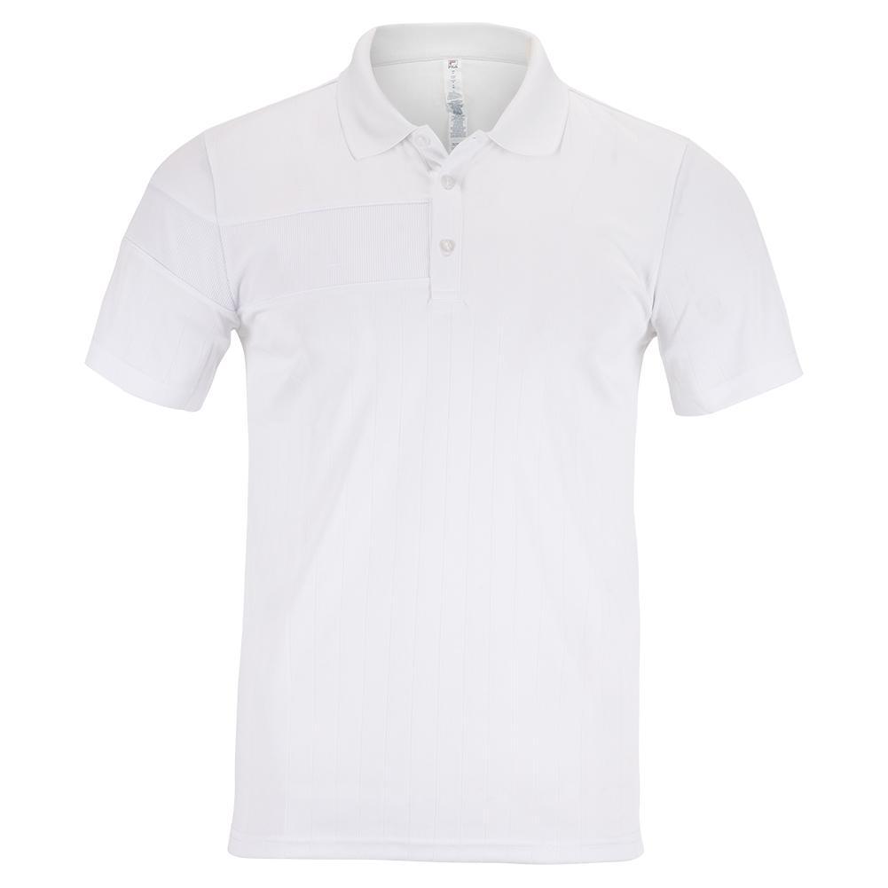 Men's White Line Short Sleeve Tennis Polo White