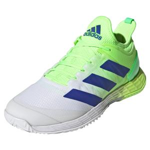 Men`s adizero Ubersonic 4 Tennis Shoes Signal Green and Sonic Ink