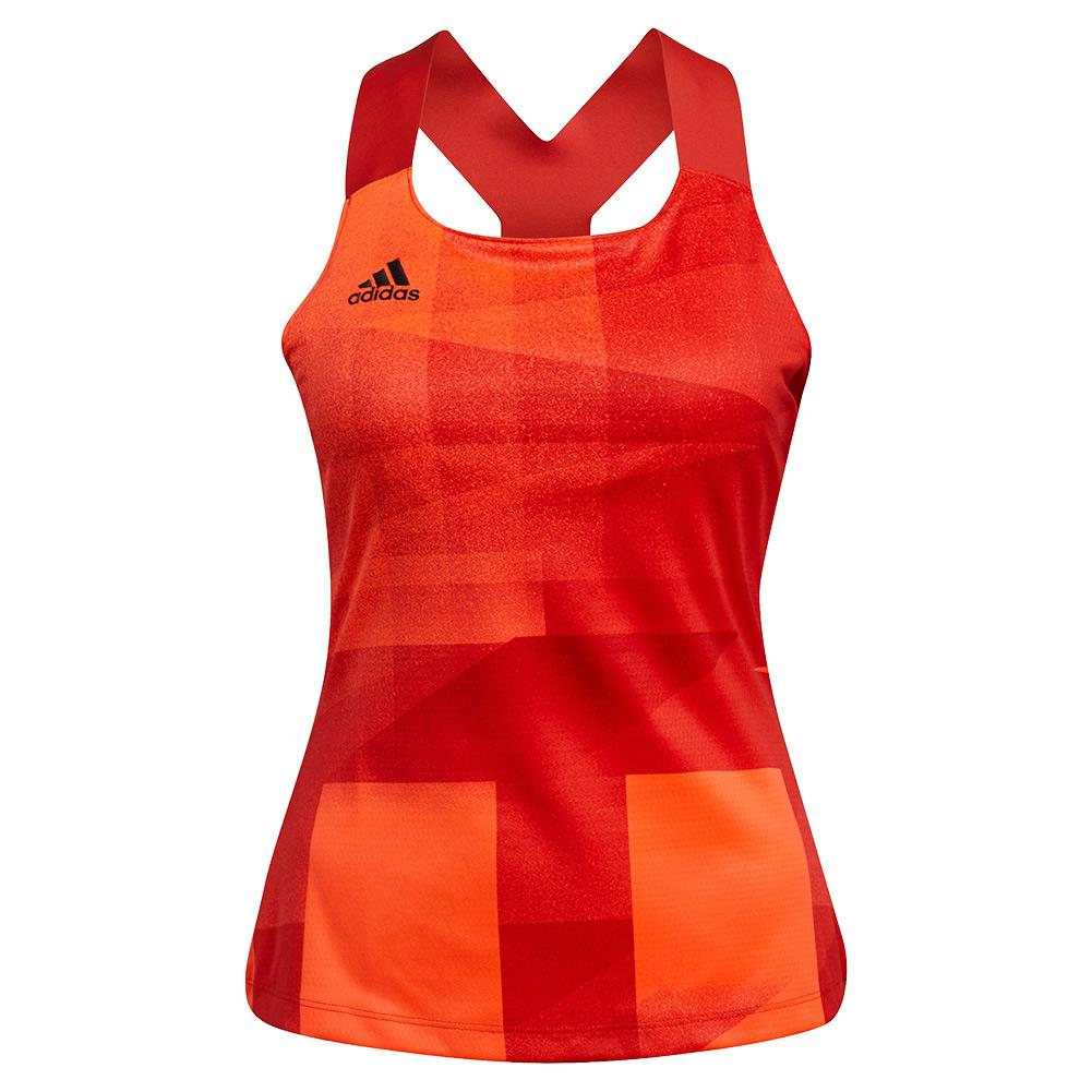 Women's Primeblue Heat.Rdy Tokyo Y- Back Tennis Tank App Solar Red And Black