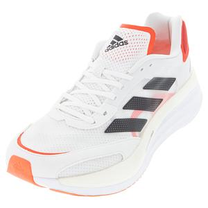 Men`s adizero Boston 10 Running Shoes White and Core Black