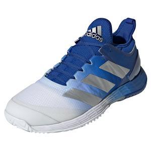 Men`s adizero Ubersonic 4 Tennis Shoes Team Royal Blue and Silver Metallic