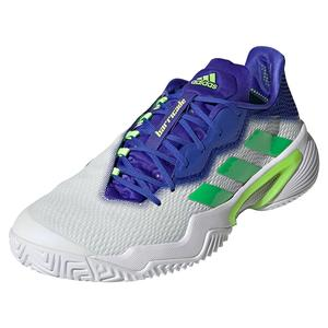 Men`s Barricade Tennis Shoes White and Screaming Green