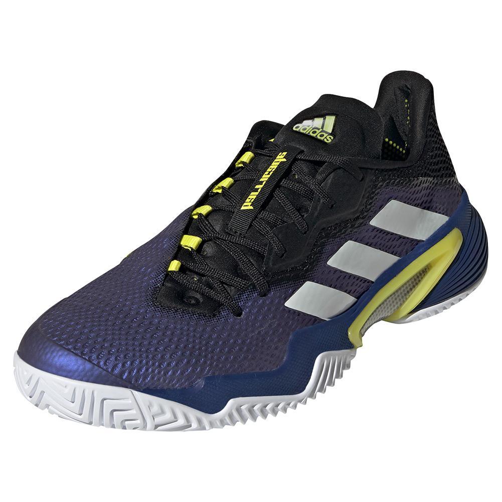 Men's Barricade Tennis Shoes Black Blue Metallic And White