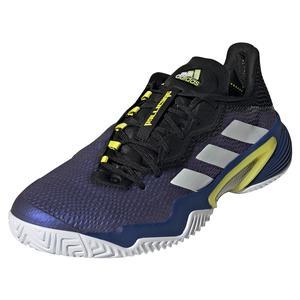 Men`s Barricade Tennis Shoes Black Blue Metallic and White