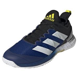 Men`s adizero Ubersonic 4 Tennis Shoes Core Black and Acid Yellow