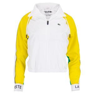 Women`s Water Resistant Zip Tennis Jacket White and Yellow