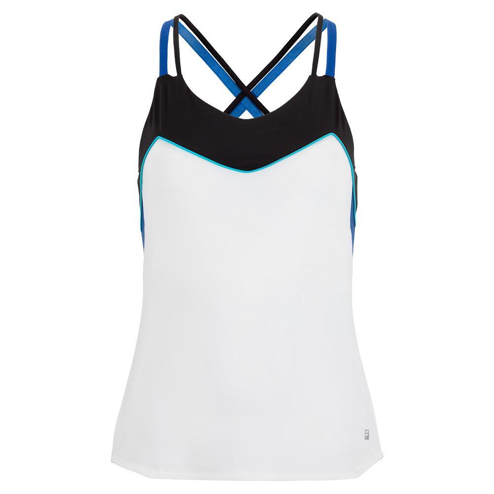 Women's Celestia Point Cami Tennis Top White And Black