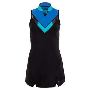 Women`s Celestia Point Tennis Dress Black and Celestial Blue