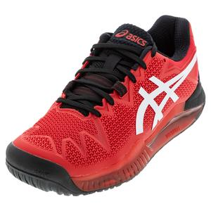Men`s GEL-Resolution 8 Tennis Shoes Electric Red and White